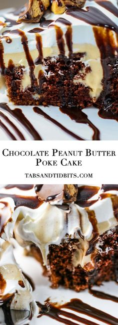 A moist and creamy poke cake that will satisfy all chocolate and peanut lovers in one heaping bite!