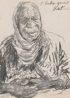 Untitled (Study for 'Emily Kame Kngwarreye with Lily'), 1993 National Portrait Gallery, Working Together, Mark Making, Heart Art, Woman Face, Storyboard, Lily, Caption, Drawings