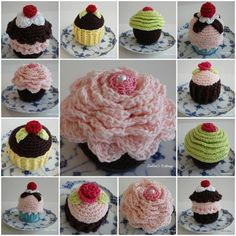 I want to make them all Crochet Cake, Crochet Food, Knit Crochet, Crocheted Toys, Crochet Home Decor, Crochet Crafts, Crochet Projects, Knitting Patterns, Crochet Patterns