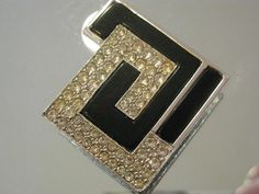 Collectible Rare Judith Leiber Black and White Modern Brooch
