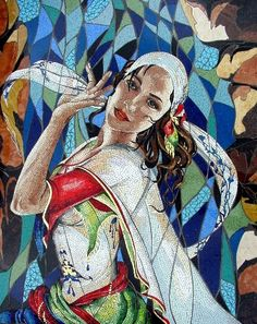 Cerulean Dancer ~ Carole Choucair Oueijan has a very distinctive, lyrical mosaic voice. She combines opus sectile and opus vermiculatum to weave stories of dancers and princesses, of dreamers and magical feasts. Tile Art, Mosaic Art, Mosaic Glass, Glass Art, Stained Glass, Mosaic Crafts, Mosaic Projects, Sicis Mosaic, Mosaic Portrait
