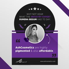 Why not hear what the industry expert Rumena Begum had to say.  #makeup #ashcosmetics #review  See our products here: https://www.ashcosmetics.com/products/
