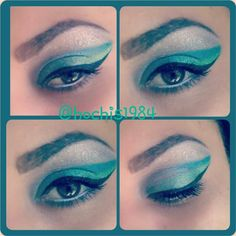 Green blue 80s eye make_up