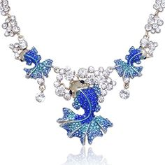 Fancy Fashion Lovely Blue Golden Tonefish Statement Necklace Earrings Set Austrian Crystal * Check out the image by visiting the link.
