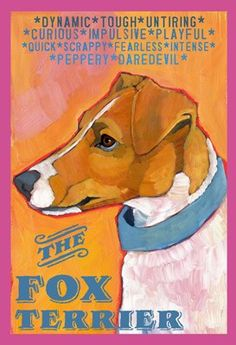 Smooth Fox Terrier Dog Colorful Print from Oil Original by Ursula Dodge