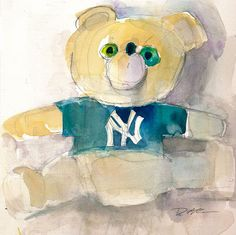 New York Yankees Teddy Bear  Fine Art Watercolor by dfrdesign, $25.00