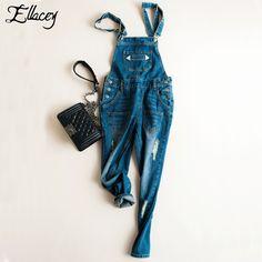Ellacey 2016 Denim Overalls Women Jeans Rompers Women's Jumpsuit Casual Loose Denim Suspender Trousers Hole Bodysuit Bib Pants