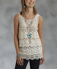 White Tiered Lace Tank - Women   Daily deals for moms, babies and kids