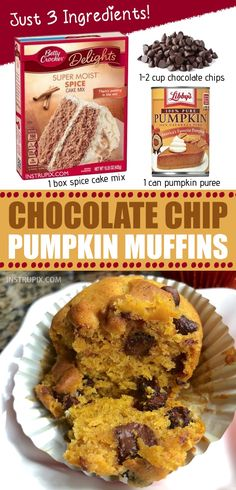 YUM My favorite quick and easy Fall treat These chocolate chip pumpkin muffins are made with just 3 ingredients Spice cake mix is the secret Try spreading a little cream. Köstliche Desserts, Delicious Desserts, Yummy Food, Awesome Desserts, Tasty, Cake Mix Muffins, Pumpkin Muffins Cake Mix Recipe, Pumpkin Spice Muffins, Healthy Pumpkin Muffins