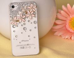 iphone 4s case, handmade iphone 4 cases iphone cover skin iphone 5 case - flowers crystal iphone 4 cases. $13.99, via Etsy.