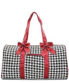 c576835142f4 Personalized Houndstooth Large Quilted Duffel Bag - Burgundy - plenty of  room for a weekend trip.