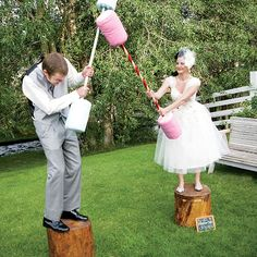 """Brides.com: A Whimsical Outdoor Wedding in Montana. Battle of the newlyweds: """"Instead of shoving cake in each other's faces, we had a pillow-jousting fight,"""" says Cassie."""
