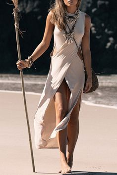 Solid Color High Slit Cut Out Maxi Dress OFF-WHITE: Maxi Dresses | ZAFUL