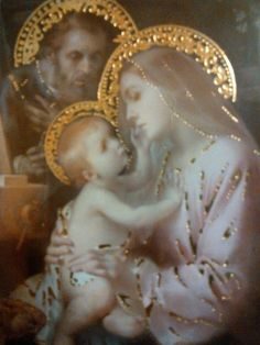 Blessed Mother, Joseph and Jesus pray for us. Blessed Mother, Joseph and Jesus pray for us. Blessed Mother Mary, Blessed Virgin Mary, Religious Icons, Religious Art, Noel Christmas, Silver Christmas, Christmas Nativity, Christmas Themes, Vintage Christmas