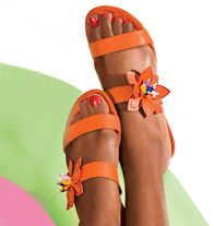 AVON - Floral Slide Sandal $16.99. Leatherlike upper with bead accents. Skid-resistant sole. Whole sizes only. Half sizes, order one size up.