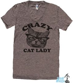 CRAZY CAT lady t shirt -- american apparel  S M L XL  ( 6 colors )
