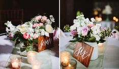 wooden calligraphy table numbers - green wedding shoes