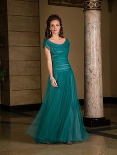 A-Line/Princess Scoop Sleeveless Floor-Length Ruched Tulle Mother of the Bride Dresses