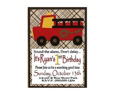 Printed Handmade Birthday Party Invitations - 10 Invites & 10 Envelopes (Black or Silver) - Red Fireman / Fire Truck - FREE PERSONALIZATION