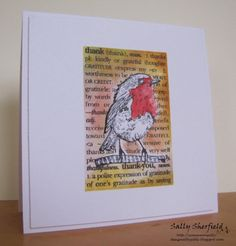 Cinnamon Sally Designs. Love the background on Sally Sherfield's #card, and the pop-dotted bird! #HeroArts
