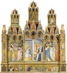 Giovanni del Biondo - Polittico con l'Annunciazione e santi -  tempera e oro su tavola - 1380-1385 circa - Galleria dell'Accademia a Firenze.