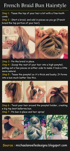 French Braided Bun   Beauty Tutorials~ still trying to learn how to french braid but I love this!