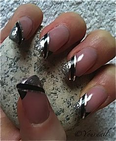 Silver And Black French Tip Manicure Fingernails Acrylic Try It W Navy Blue Stripe