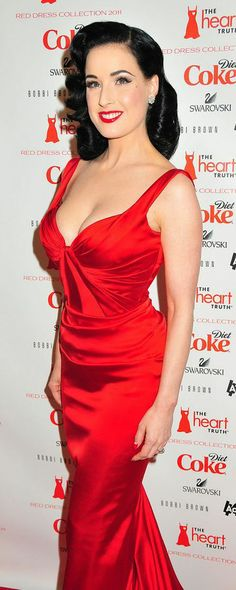 Dita Von Teese | Red Satin Dress | http://shinyandsexy.tumblr.com/post/36202224469