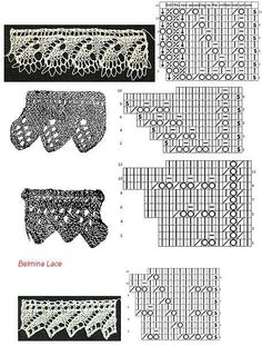 Vintage crochet edging with pattern Lace Knitting Stitches, Knitting Charts, Stitch Patterns, Knitting Patterns, Crochet Patterns, Doily Patterns, Dress Patterns, Knit Edge, Crochet Borders