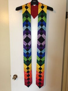 Deacon Stoles   Rainbow Pride Celebration Clergy Stole - French Braid Quilt