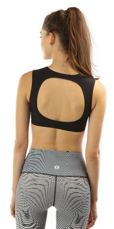 Choli sport bra made from recycled nylon by Yoga Democracy. Unique open back design, supportive, eco-friendly. Made from the equivalent of 1/2 lb of post-consumer fishing net.