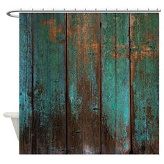 Distressed teal green shower curtain. Perfect for distressing your home. Distress your home on a budget! (affiliate link)