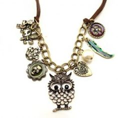 $4.76 Vintage Style Multielement Embellished Owl Shape Decorated Women's Necklace