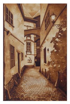 """Griechengasse"" Artist: Steven Mikel - Painting with Coffee"
