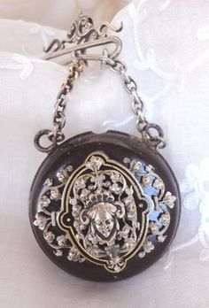 Magnificent Victorian Era Antique Lady Pocket Watch Holder Chatelaine
