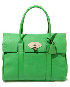 Mulberry Bayswater Leather Shoulder Bag in Grass Green.
