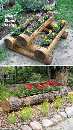Garden Yard Ideas, Garden Planters, Garden Art, Balcony Garden, Wood Planters, Love Garden, Garden Beds, Backyard Ideas, Log Planter