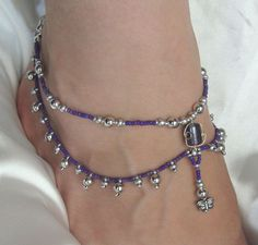 Purple and Silver Beaded Drop Anklet. $26.00, via Etsy.