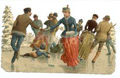 §§§ : Skating Scene : die-cut scrap : 1880