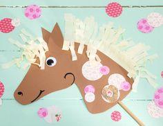 Pferdekopf, Steckenpferd aus Pappe, Kindergeburtstag, Basteln mit Kindern, produziert für tambini.de