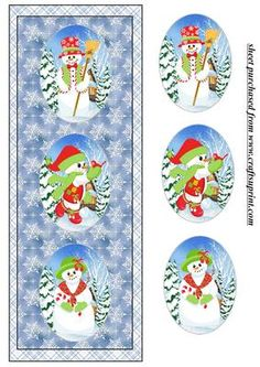 Cute Christmas snow family triple oval card front 1 on Craftsuprint designed by Sharon Poore - Christmas snow family triple oval card front with layers - Now available for download!