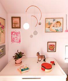modern brass, copper, and mirrored mobile in pink nursery Copper, Brass, Diy Mirror, Other Rooms, Garland, Diys, Gallery Wall, Nursery, Tutorials
