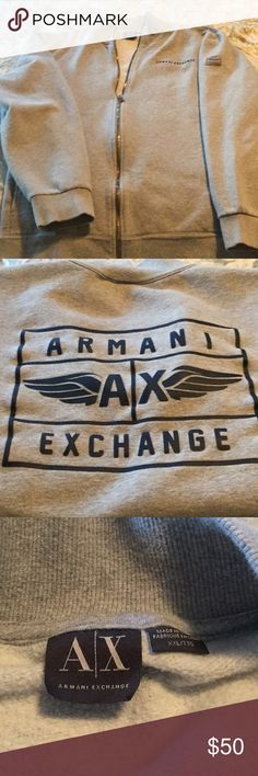 Authentic Armani Sweat Shirt Grey with blue lettering A/X Armani Exchange Sweaters Zip Up