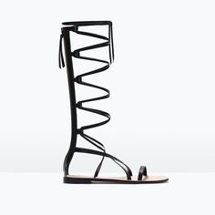 Leather gladiator sandals from ZARA. Shop more products from ZARA on Wanelo. Black Flats Shoes, Black Leather Sandals, Black Sandals, Greek Sandals, Zara Sandals, Zara Shoes, Women's Shoes Sandals, Vegan Sandals, Zara Flats