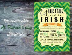 St Patricks Day Party Invitation Printable by FeatheredHeartPrints, $15.00 Eat Drink and Be Irish! Green Chevron Party Invitation with Shamrocks