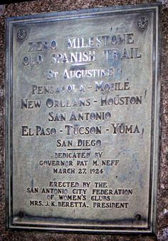The old Spanish Trail, from San Diego California downtown to St Augustine in Florida ~ Automotive News.This would be an amazing road trip! San Antonio City, Alta California, All In The Family, Conquistador, Automotive News, Saddles, Family History, San Diego, Trail