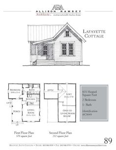 AllisonRamseyArchitects > Carolina Inspirations Book I > Lafayette Cottage This plan is 790 Heated Square Feet, 1 Bedroom & 1 Bathroom. Carolina Inspirations Book I, Page Cottage House Plans, Country House Plans, Modern House Plans, Small House Plans, Cottage Homes, House Floor Plans, Tiny Cabins, Tiny House Cabin, Small Cottages