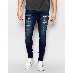 SikSilk Drop Crotch Jeans With Distressing