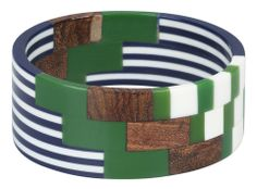 Kurvi Bangle Bracelet White/Navy/Green | Kiitos Marimekko