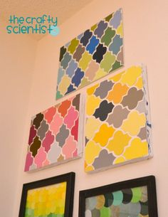 Paint Chip Quatrefoil Art - argyle pattern would work,  too with embroidery floss as the cross lines.